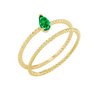 Modern Dainty Genuine Emerald Pear Shape Rope Ring Stacking Set in Yellow Gold