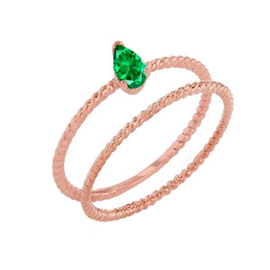 Modern Dainty Genuine Emerald Pear Shape Rope Ring Stacking Set in Rose Gold