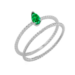 Modern Dainty Genuine Emerald Pear Shape Rope Ring Stacking Set in White Gold