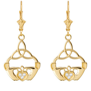 Diamond Trinity Knot Earrings in Yellow Gold