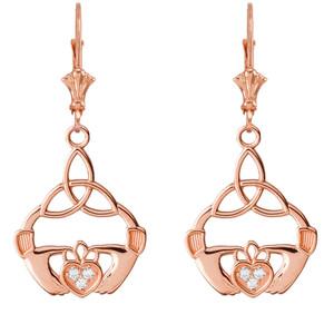 Diamond Trinity Knot Earrings in 14K Rose Gold