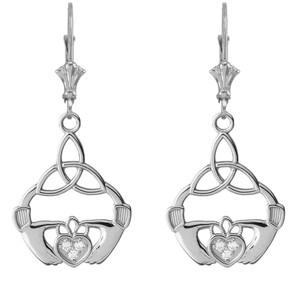 Cubic Zirconia Trinity Knot Earrings in Sterling Silver