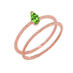 Modern Dainty Genuine Peridot Pear Shape Rope Ring Stacking Set in Rose Gold