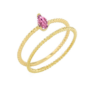 Modern Dainty Pink CZ Pear Shape Rope Ring Stacking Set in Yellow Gold
