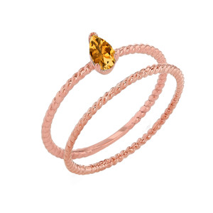 Modern Dainty Genuine Citrine Pear Shape Rope Ring Stacking Set in Rose Gold