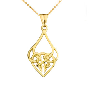 Designer Celtic Knot Statement Pendant Necklace in Yellow Gold