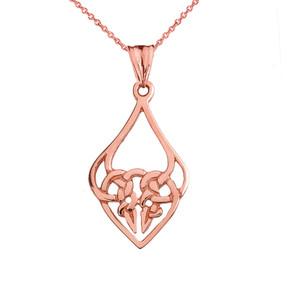 Designer Celtic Knot Statement Pendant Necklace in Rose Gold