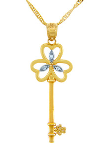 Valentines Special Heart Diamonds - Gold Key Pendant with Three Hearts Echo (w Chain)