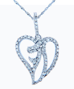 Valentines Special Heart Diamonds - White Gold Abstract Heart Pendant with Diamonds (w Chain)