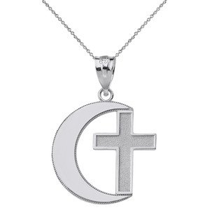 Crescent Moon and Cross Pendant Necklace in Gold (Yellow/Rose/White)