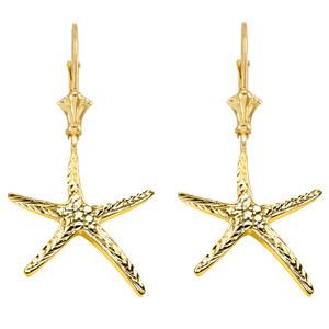 Diamond Cut Starfish Earrings in Yellow Gold