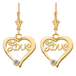"""Love"" Script Diamond Heart Earrings in Yellow Gold"