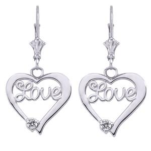 """""""Love"""" Script Diamond Heart Earrings in Sterling Silver"""