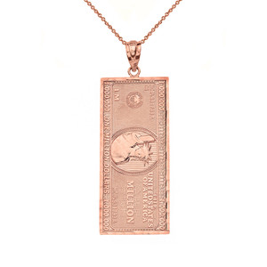 Double Sided Million Dollar Bill Money Pendant Necklace (Medium) in Gold (Yellow/Rose/White)