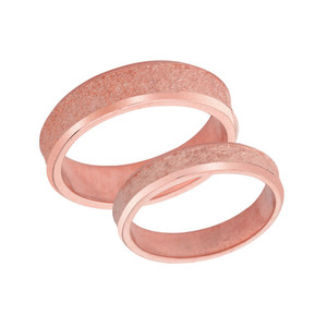 Couples Matching Rock Satin Wedding Band Set in Solid Rose Gold