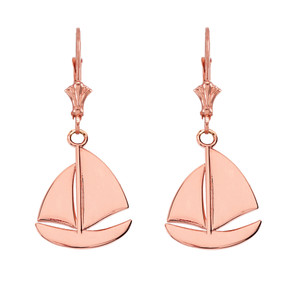 14K Sail Boat Pendant Necklace Set in Rose Gold