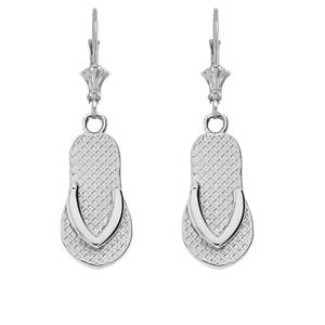 14K Flip Flop Earrings in White Gold