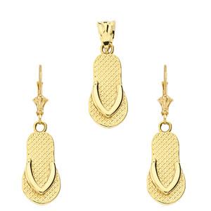 14K Flip Flop Pendant Necklace Set in Yellow Gold