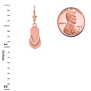 14K Flip Flop Pendant Necklace Set in Rose Gold
