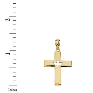 Cross with Dove Holy Spirit Cut Out Pendant Necklace in Gold (Yellow/Rose/White)