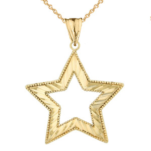 14K Chic Sparkle Cut Star Pendant Necklace Set in Yellow Gold