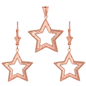 14K Chic Sparkle Cut Star Pendant Necklace Set in Rose Gold
