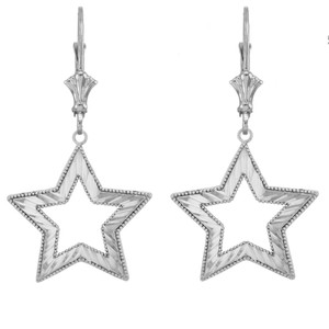 14K Chic Sparkle Cut Star Pendant Necklace Set in White Gold
