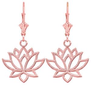 14K Lotus Flower Earrings in Rose Gold