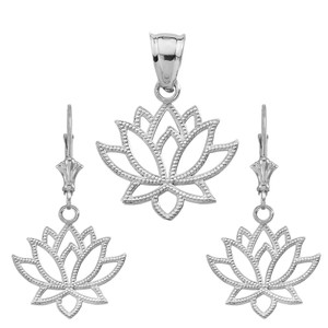 14K Lotus Flower Pendant Necklace Set in White Gold