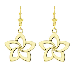 Flower Earrings in Yellow Gold