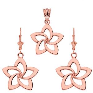 14K Flower Pendant Necklace Set in Rose Gold