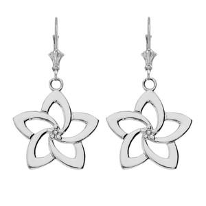 14K Flower Earrings in White Gold