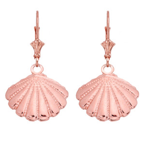 14K Cockle Sea Shell Pendant Necklace Set in Rose Gold