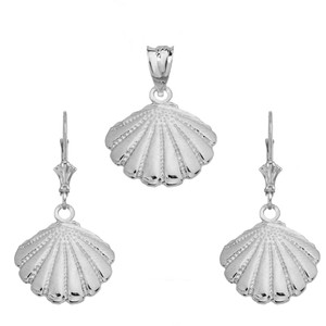 14K Cockle Sea Shell Pendant Necklace Set in White Gold