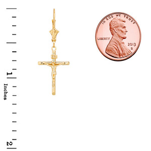 14K Dainty Crucifix Cross (INRI) Pendant Necklace Set in Yellow Gold
