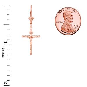 14K Dainty Crucifix Cross (INRI) Earrings in Rose Gold