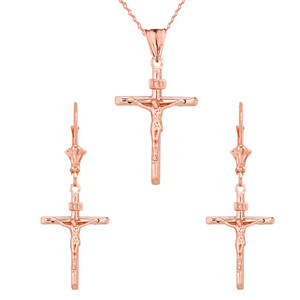 14K Dainty Crucifix Cross (INRI) Pendant Necklace Set in Rose Gold