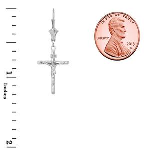 Dainty Crucifix Cross (INRI) Earrings in Sterling Silver
