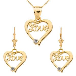 "14K ""Love"" Script Diamond Heart Pendant Necklace Set in Yellow Gold"