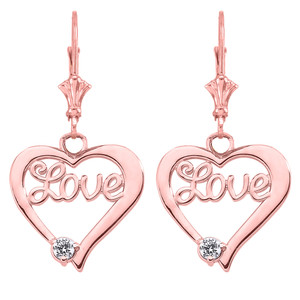"14K ""Love"" Script Diamond Heart Pendant Necklace Set in Rose Gold"