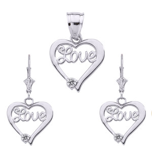 """Love"" Script Diamond Heart Necklace Set in Sterling Silver"