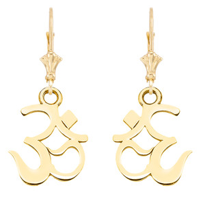 14K OHM (OM) Ganesh Pendant Necklace Set in Yellow Gold