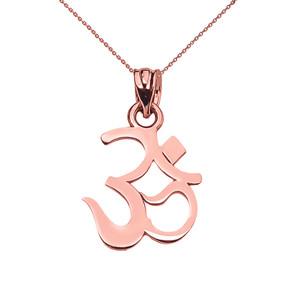14K OHM (OM) Ganesh Pendant Necklace Set in Rose Gold