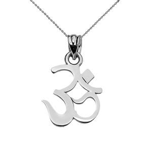 14K OHM (OM) Ganesh Pendant Necklace Set in White Gold