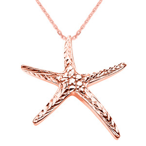 14K Diamond Cut Starfish Pendant Necklace Set in Rose Gold