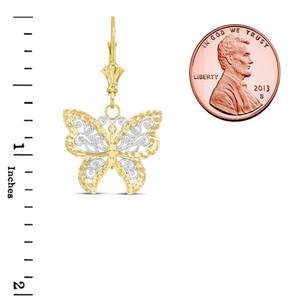 14K Filigree Butterfly Pendant Necklace Set in Two-Tone Yellow Gold