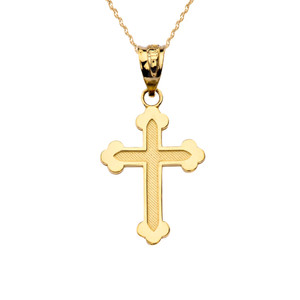 14K Dainty Greek Orthodox Cross Pendant Necklace Set in Yellow Gold