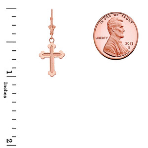 14K Dainty Greek Orthodox Cross Pendant Necklace Set in Rose Gold