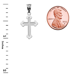 14K Dainty Greek Orthodox Cross Pendant Necklace Set in White Gold