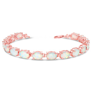 Oval Simulated Opal (9 x 7) Tennis Bracelet in Rose Gold